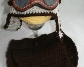 Crocheted Baby Aviator Hat Diaper Set Handmade Aviator Hat Newborn Aviator Hat Boy Aviator Hat Crochet Hat Crochet Aviator Hat