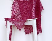 Deep Magenta Knitted Lace Shawl - RESERVED for Mary-Margaret