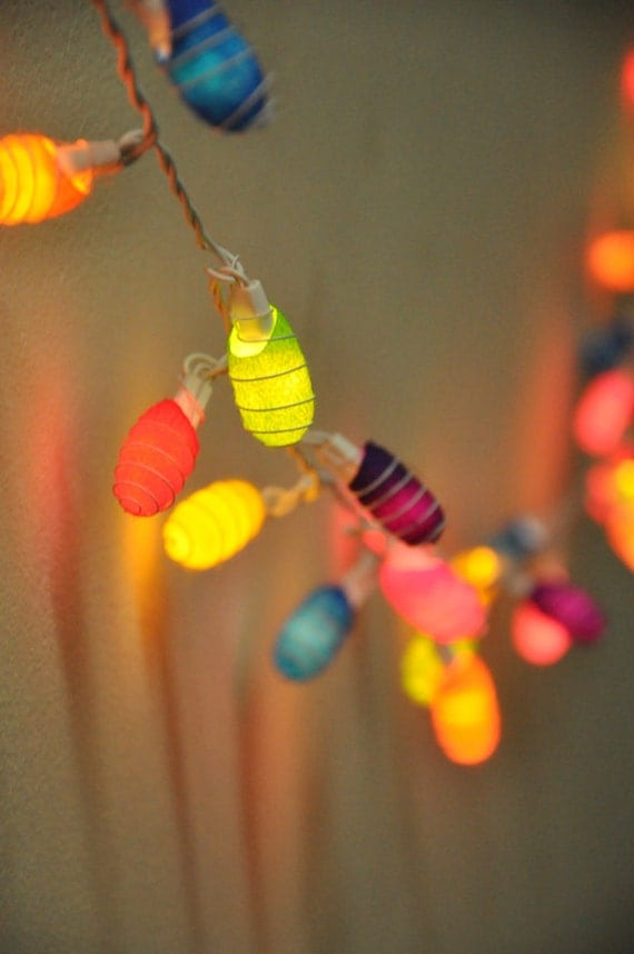 Outdoor String Lights Etsy : 35 bulbs Colorful Cocoon string lights for