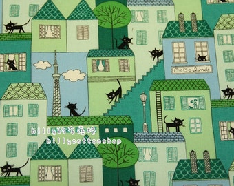 V971- cats - cotton linen- Half Yard ( 6 color to choose )