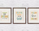 Retro quote print, shabby chic poster, set of three, distressed, vintrage, typography print., inspirational wall art 8x10