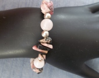 Pink Bracelet with Pink Rhodonite, Rose Quartz, and Silver