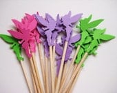 24 Pink - Purple - Green Tinkerbell Party Picks - Cupcake Toppers - Toothpicks - Food Picks - die cut punch FP322