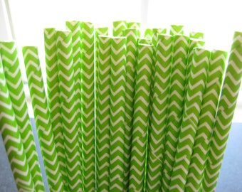 25 Lime Green & White Chevron Striped Party Paper Drinking Straws A217