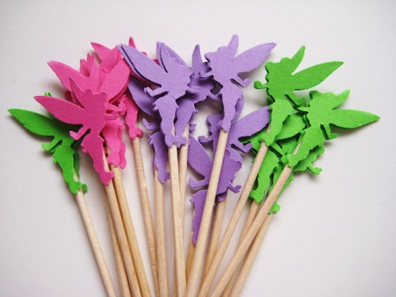 24 Pink Purple Green Tinkerbell Party Picks Cupcake
