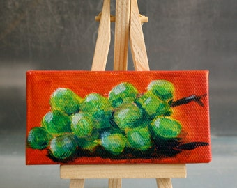 Fruit Painting Grapes Miniature Still Life Original Oil small fruit painting green and orange - fine art home decor wall art