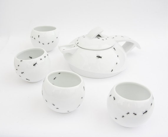 Teapot and cups with Bugs - Contemporary Porcelain Tea or Coffee Set decorated with Ants and Insects
