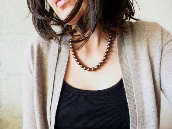 chestnut pearl necklace with swarovski crystals and sterling silver. brown. metallic. simple. wedding.
