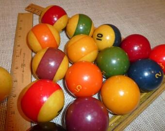 Vintage  Pool Ball  8 Ball  Red Ball Yellow Ball Blue Ball Green Ball number 8 5 3 2 1