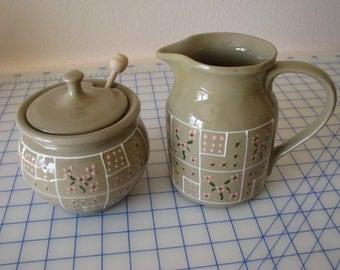 Vintage Hartstone Pottery Pitcher OR Honey Pot/Lid/Dipper - 1970's
