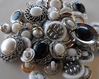100 Bulk Fancy Silver Multi Size and Shape Buttons