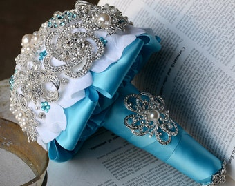 Vintage Bridal Brooch Bouquet - Pearl Rhinestone Crystal - Silver Teal Blue White -One Day RUSH ORDER Available - BB032LX