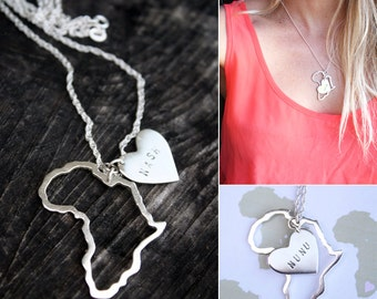 Africa with heart necklace / Africa charms / personalized Africa pendant/ adoption necklace
