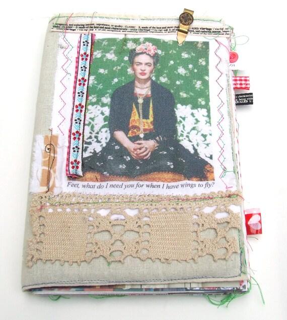 Frida Kahlo Fabric Covered Art Journal, Mixed Media Smash Book