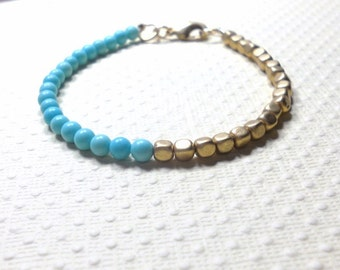 Beaded Bracelet, Turquoise and Gold Colored Beads, Czech Glass Beads, Women's Jewelry