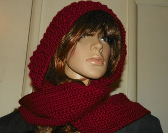 Scarf  Stunning Silky  Red Hood Scarf all in One Very Elegant