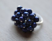 Pearl Ring Blue Berries Fresh Water Pearl  Wedding Brides Bridesmaids Flower Girls  Graduation Prom  Ships from Canada
