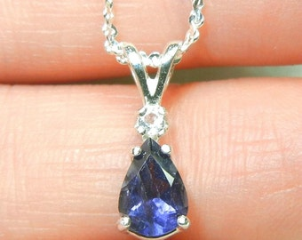 Sterling silver pendant - Iolite with a white topaz accent