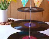Wedding Party Cake Stand 3-tier Vintage Vinyl Record Retro Celebration Server Summer Garden Party Cakestand