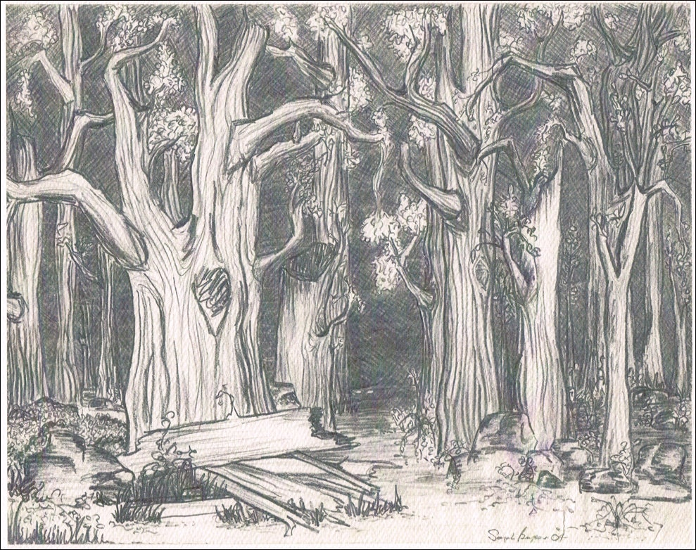Items similar to Spooky Forest print of original pencil ...