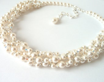 Twisted Pearl Necklace, Multi Strand Pearl Necklace, Pearl Choker Necklace, Bridal Necklace, Wedding Jewelry Necklace, Chunky Pearl Necklace