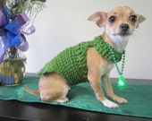 Small Dog Coat - Extra Small dog sweater- Kelly Green - XS