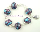Bracelet of Turquoise & Purple Lampwork Beads