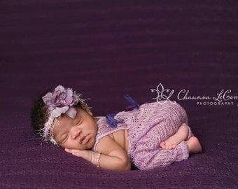Lilac Baby Halo, Lilac Newborn Tieback, Baby Headband, Lilac Flower Baby Halo, Newborn Headband, Baby Girl Props