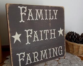 Family Faith Farming Distressed Finish Wood Sign