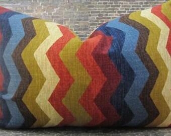 Designer Pillow Cover -  10 x 20, 12 x 16, 12 x18 - Panama Chevron Gem -