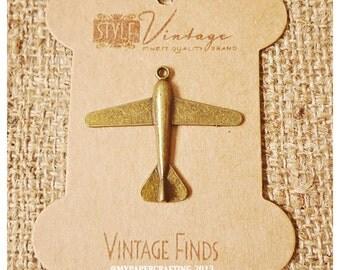 Antique Plane Brass Charm Metal