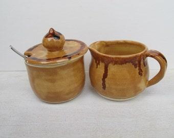 Ceramic Cream and Sugar Set // Handmade Pottery Sugar & Cream Serving Set // Honey Mustard Yello