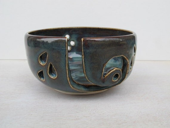 Handmade Ceramic Yarn Bowl // Pottery Yarn Bowl // Rustic Blue // Knitting Supplies
