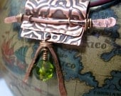 Copper Necklace Embossed Moroccan Deisgn with Green Czech Glass