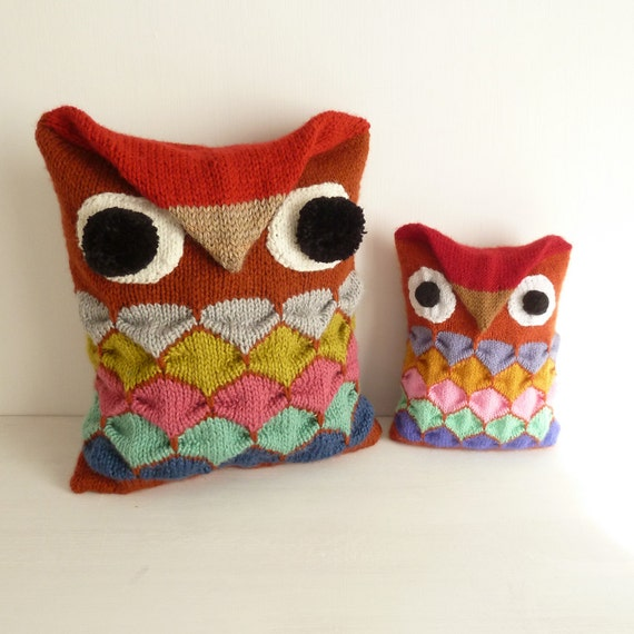 Owl Cushion Knitting Pattern : Owl knit pattern Decorative geometric pillow / toy PDF by bySol
