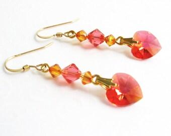 Sunset Pink Heart Earrings, Dangling Heart Earrings, Summer Jewelry, Swarovski Padparadscha Pink Crystal Earrings, Gold Filled Earrings