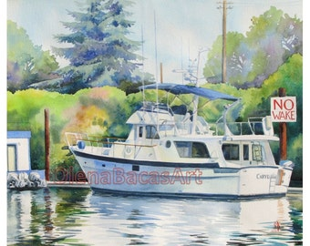 """Anniversary Gift, CUSTOM Boat Painting, ORIGINAL WATERCOLOR-Sailboat painting 11""""x14""""-Gift for Him-Gift for Dad-Gift for Husband"""