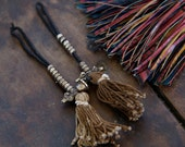 Count Your Mantras: Brown Tasseled Mala Counters, Prayer Beads / Meditation, Craft Supplies from Nepal / Tassel, Buddhism, Dorje, Bell / 2