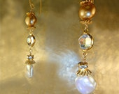 White Keshi Pearls, AB Crystals, Champagne Pearls, 22K Gold v French wires, Artisan Handcrafted in America