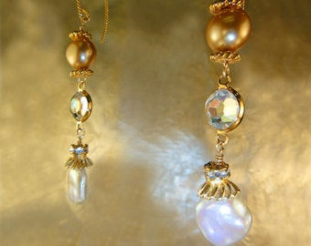 Genuine White Keshi Pearls, AB Crystals, Champagne Pearls, 22K Gold v French wires, Artisan Handcrafted in America