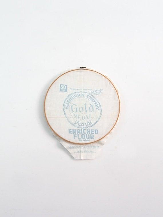 Vintage Gold Medal Flour Sack Wall Hanging Framed Textile