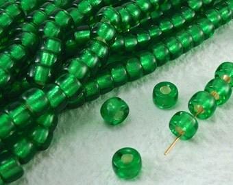 20 Glass Beads  9mm Vintage Czech Pony Trade Emerald Green Tribal BOHO Large Hole beads