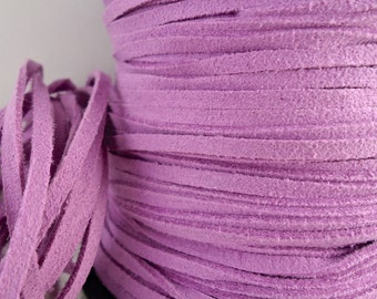 6yds Faux Suede leather Micro Fiber Bracelet Jewelry Cord Lavender Light Purple Lace 3mm x 1.5mm