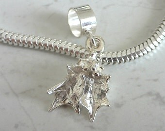 XMAS MISTLETOE 3D Sterling Silver Christmas Charm Fits All Slide On Bracelets