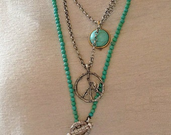Boho Antique SIlver Hamsa Hand Pendant  Necklace - Turquoise and Pink Beaded Chain
