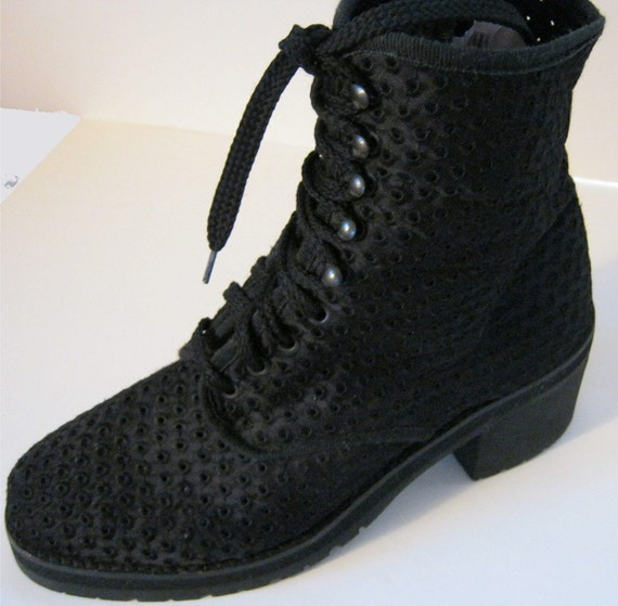 Lace Combat Boots Cloth Chunky Boots Grunge Lace up Boot