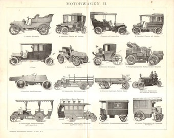 1904 Automobiles, Auto Cars and Motor Cars from the 19th Century Vintage Print to Frame
