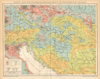 1896 Original Antique Population Density Map of Austria-Hungary