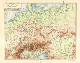 1895 Original Antique Relief Map of Central Europe