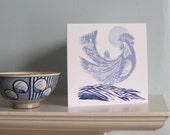 Moonlight Cockerel Greetings Card